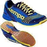 Kempa Handballschuhe Attack Hallenschuhe deep blau/limonengelb Socken (45 (UK 10,5))
