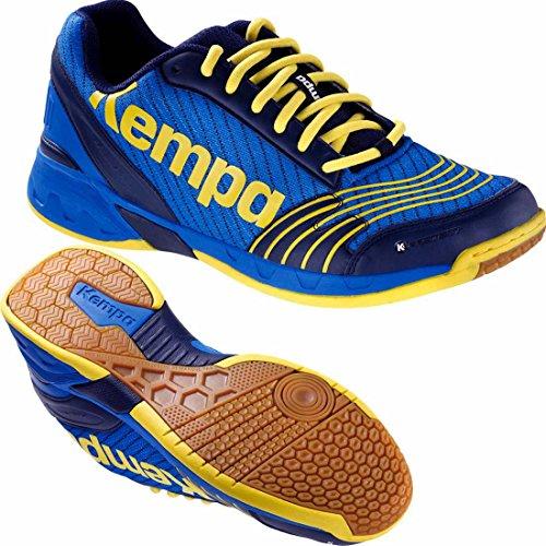 Kempa Handballschuhe Attack Hallenschuhe deep blau/limonengelb + Kempa Socken (43 ( UK 9 ))