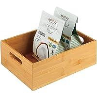 mDesign caisse de rangement pour la cuisine – boite en bois pratique avec poignées – boite en bambou pour rangement d…