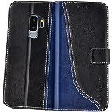 elephones Handy Hülle Samsung Galaxy S9 Plus Hülle (S9+) mit Kartenfächer Standfunktion Geldscheinfach Handy Tasche Samsung Galaxy S9 Plus Schutzhülle Flip Case Cover Schwarz - Blau