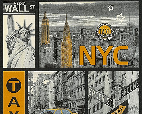 A.S. Création Tapete Faro New York City 10,05 m x 0,53 m gelb metallic schwarz Made in Germany 300451 30045-1