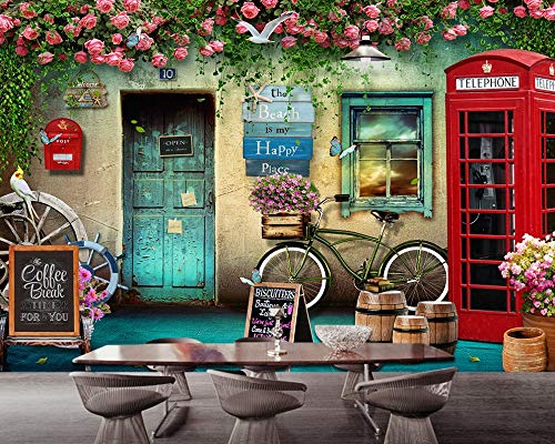 6975fd380fd3a SKTYEE Retro Vintage Floral Wallpaper London Phone Booth Rose Background  Wall Restaurant Wallpaper 3D Mural,