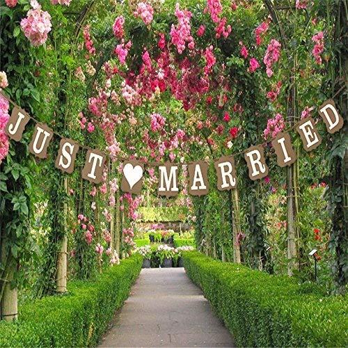 """Musuntas Girlande Vintage / Rustikal Kraftpappe """"Just Married"""",Hochzeits-Girlande, Banner - als Deko zur Hochzeit mit weißen Schriftzug"""