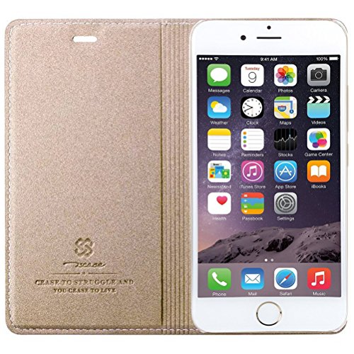 MOONCASE iPhone SE Custodia, Premium Protettiva in pelle Bookstyle Flip Cover Stand Case per iPhone 5 / 5S / iPhone SE Blu Oro