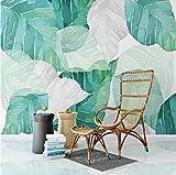 Benutzerdefinierte Jede Größe 3D Wandbild Tapete Nordic Moderne Einfache Aquarell Baum Blatt Wohnzimmer Schlafzimmer Innenwand Wandbild, 200x140 CM