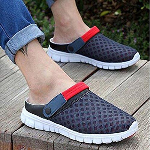 SGoodshoes Sommer Clogs Atmungsaktiv Mesh Herren Schuhe Badeschuhe Hausschuhe Rutschfest Flach Sohle Slippers Haushalt und Outdoor Damen Rot