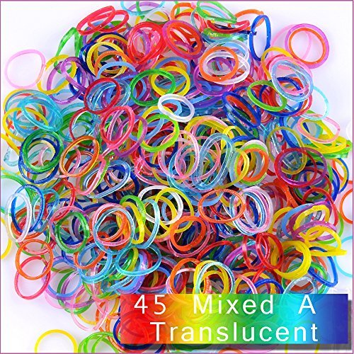 Kirinstores (TM) 6000 PCS 240 Clips Bands Refills for Loom Rainbow Bracelet Dress Making - Mixed A Translucent by KirinStores (Loom Clips Stricken)