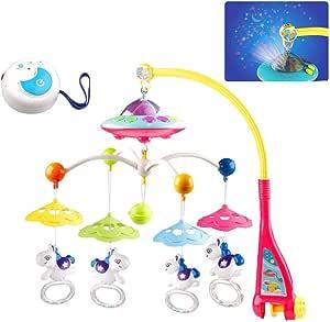 lit b/éb/é Bell histoire projecteur rotatif b/éb/é musical lit mobile lit Bell jouets suspendus hochets Projection jouet cadeau Lit b/éb/é mobile jouet