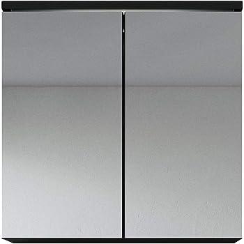 Badezimmer Spiegelschrank Toledo 60 Cm Schwarz Stauraum