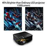 Video Projector 1080P HD, GooBang T20 Multimedia Portable Mini Home Entertainment LED Projector 1500 Lumens 800*480 Resolution for PC Laptop PS4 XBOX and Android TV Box etc, Black
