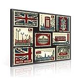 Zum Aufhängen Leinwand Wand Kunst–Antik Vintage British Post Briefmarken–XL–80x 80cm (80x 80cm)–Rot Bild Panel