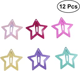 Frcolor Lovely Metal Snap Hair Clips Stars Barrettes Hair Accessories for Babies Girls Toddlers Children Kids Teens 12pcs