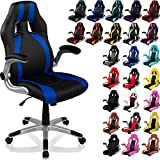 "RACEMASTER® Racing Bürostuhl ""GT Stripes Series"", Gaming Chair Gamer Stuhl klappbare Armlehnen Schreibtischstuhl Wippmechanik Drehstuhl25 Farbvarianten, schwarz/blau"