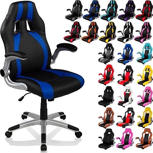 """RACEMASTER® Racing Bürostuhl """"GT Stripes Series"""", Gaming Chair Gamer Stuhl klappbare Armlehnen Schreibtischstuhl Wippmechanik Drehstuhl25 Farbvarianten, schwarz/blau"""