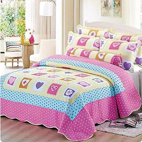 Alicemall Tagesdecke Baumwolle Bettüberwurf 150x200cm Sofa Couch Überwurf Decke Sommerdecke Gesteppt Steppdecke - Klein (Rosen Quilt Muster)