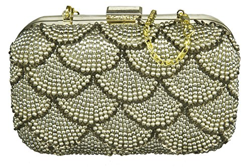 Neon By Paint PT2152CL018GOL Beads Box Clutch (Gold)