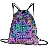 Milya Geometrische Sporttasche Rucksack mit Tunnelzug Leuchtend Turnbeutel Reflektierend Jutebeutel Sportbeutel Strandbeutel