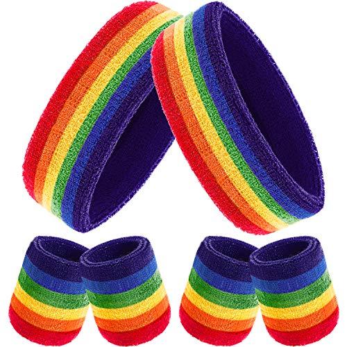 6 Stück Gestreifte Schweißbänder Set, Enthält 2 Stück Sport Stirnband und 4 Stück Armbänder Schweißbänder Bunte Baumwolle Gestreiften Schweißband Set für Männer und Damen (Regenbogen Farbe) - 2 Stück Stirnband