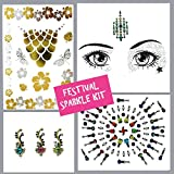 Face Gems, 4 Stück Set von Strass bindis-huge Bindi pack-temporary tattoo- Face Jewels Kristallen, Face Sticker, Augenbrauen Gesicht Körper Glitzer Schmuck Mermaid Rave Art Festival lot3