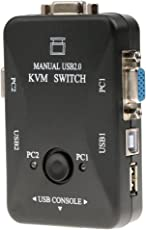 Generic KVM Switch , Dual Port VGA KVM Switch Box with Built-In USB 2.0 Hub Ultra HD Connector for PC Monitor/Keyboard/Mouse Control Black