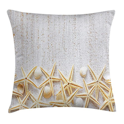 fjfjfdjk Sea Shells on Timber Pattern Tropical Honeymoon Getaways Classic Marine ThemeSeashells Throw Pillow Cushion Cover Decorative Square Accent Pillow Case 18 X 18 Inches Pearl Ivory -