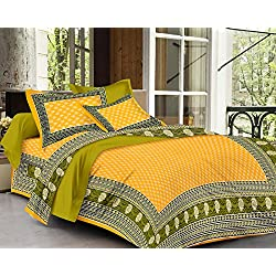 SheetKart Traditional Hand Block Printed 144 TC Cotton Bedsheet with 2 Pillow Covers - King Size, Yellow