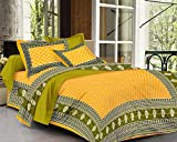 #5: SheetKart Traditional Hand Block Printed 144 TC Cotton Bedsheet with 2 Pillow Covers - King Size, Yellow