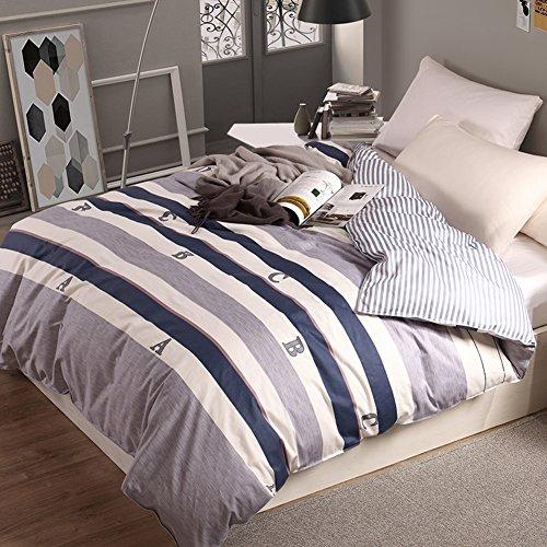 GX&XD Einfache Weich atmungsaktiv Baumwolle Bettwäscheset, Allergiker-geeignet Fade beständig Bettbezug Tröster Cover gedruckt-A 160x210cm(63x83inch) -