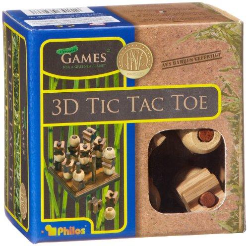 Philos-3266-Tic-Tac-Toe-3-D-Bambus-Green-Games-Strategiespiel