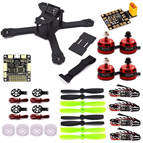 LHI X210 Carbon Fiber FPV Raceway Quadcopter Frame (4MM) +DX2205 2300KV Brushless Motor+ Littlebee 20A Mini ESC+F3 Cloud Controller Leverage Cleaflight 6DOF+LED Advisers aboard+Motor Benefactress Protectress Caps