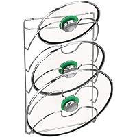 mDesign accroche casseroles Mural, Vertical – Range Couvercle Pratique pour ustensiles de Cuisine et poêle – Porte…