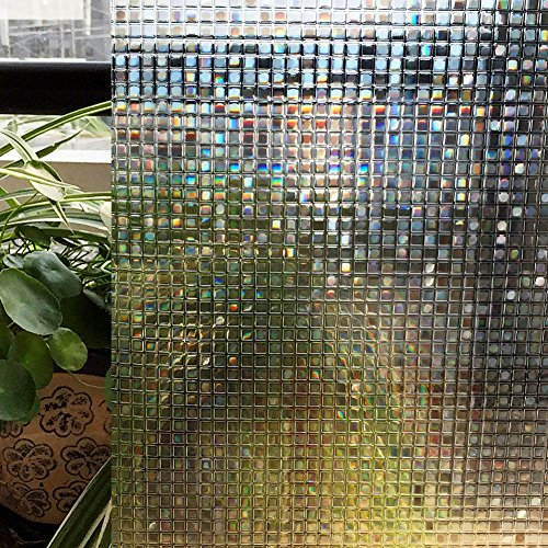 Zoostliss Mosaic 3D Window Films Privacy Film Static Decorative Film Non-Adhesive Heat Control Anti UV 45cm x 200cm