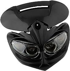 Phenovo 12V Universal Head Light Fairing Motorcycle Lamp for Street Fighter Dirt Bike