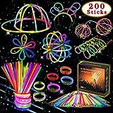 Kimimara 200 Braccialetti Luminosi, Glow Stick Bagliore Colorato Bastoni Bulk con Connettori per Collana Bagliore per Farfalla e Collana Bagliore
