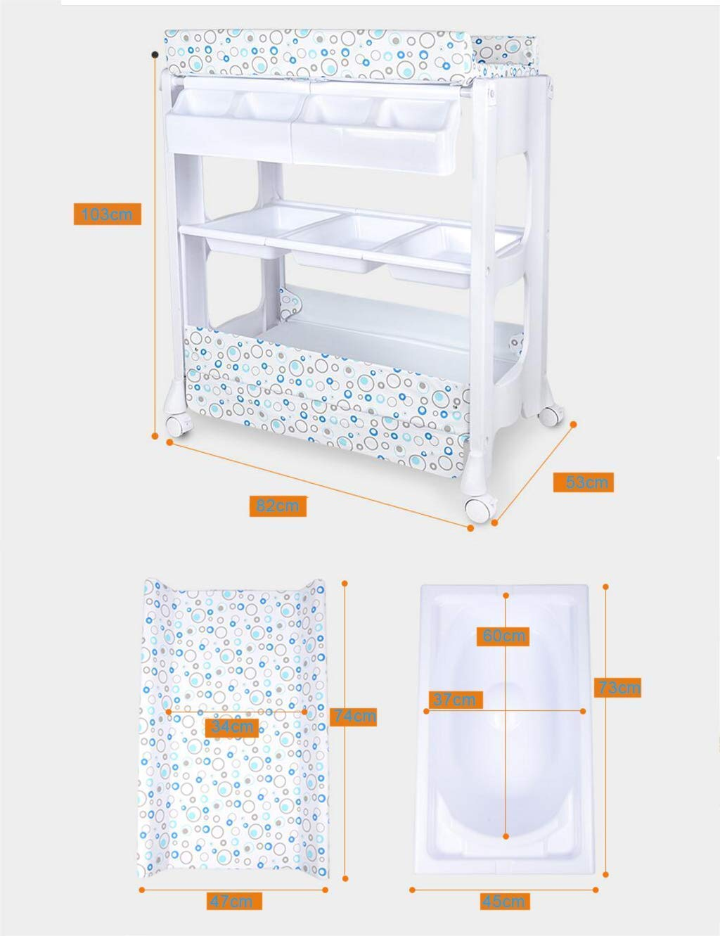Barrier Bed Diaper Station with Wheels, Baby Dresser, Baby changing table with bathtub and shelves, Baby Care Table, Changing Table Linen, Baby Changer Tray DSJMUY ★ Table material for changing diapers: PP / PVC / high strength steel pipe. ★ Changing the stable construction of the diaper station: all our products are designed with the safety of your children in mind. ★ Change the pad 2 in 1 Desigh: the changing table can also be used as a massage table for babies.It offers comfort and practicality.It is designed at the appropriate height of the parents to prevent the pains of Mother's back and pains kneel or bend when changing diapers to babies. It has open shelves that add extra security. 2