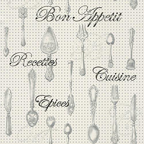 "New Luxury Rasch 828108 – Carta da parati per cucina fustellata con motivo ""Bon Appetit"""