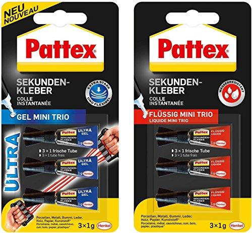 Pattex Sekundenkleber Mini Trio 3 x 1g Tuben Kombi-Set (1 Packung Gel Mini Trio + 1 Packung Flüssig Mini Trio)