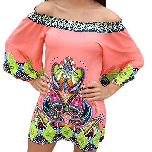Frauen Mode Rundkragen Wort Schulter 3/4-Arm Langarm Zum Schnüren Print National Wind Loose Beiläufige Beachwear Kleid Druckkleider Minikleid Freizeitkleid Strandkleider Wassermelone