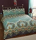 Asha Smaragd indischen Design Bettwäscheset, Bettbezug und 2Kissenbezüge Bettwäsche-Set, grün/Blaugrün