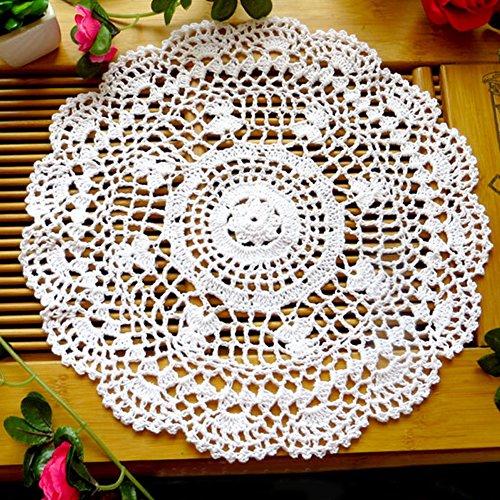 ohl Blume Tisch-Sets Hand gehäkelt Spitze Deckchen rund Tisch Untersetzer, beige, Einheitsgröße (Vintage Tee-set)