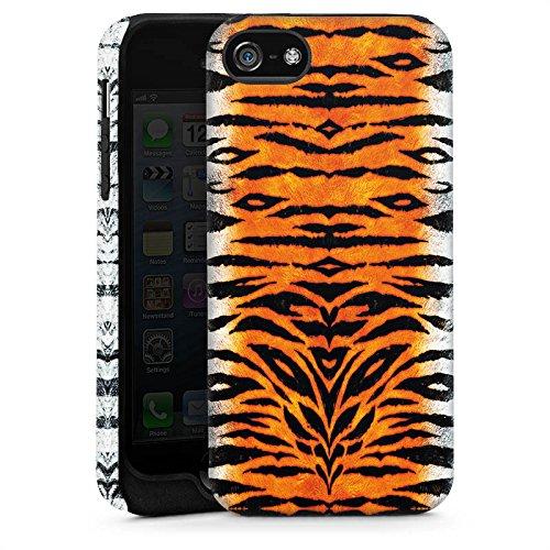 Apple iPhone 5s Housse Étui Protection Coque Tigre Fourrure Peau de tigre Cas Tough brillant
