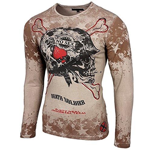 Original Designer Longsleeve T-Shirt Langarmshirt Hemd Langarm Sweatshirt 10137 Beige