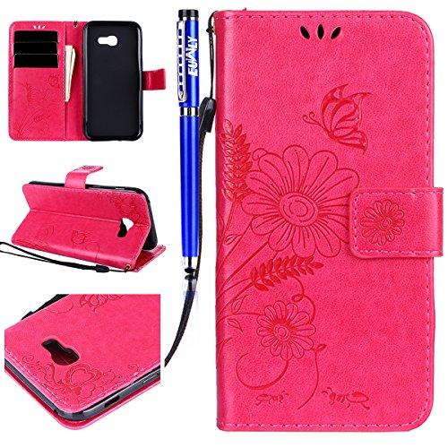FESELE Kompatibel mit Galaxy A3 2017 Lederhülle, Schmetterling Blumen Ledertasche Leder Handyhülle Leder Flip Tasche Wallet Case Bookstyle Handytasche Ständer Klapphülle,Hot Pink Hot Pink Leder
