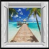YShasaG Wandbild 3D Wallpaper Strand Pier Boot Fotografie Hintergrund Moderne Wandbild Für Wohnzimmer Große Malerei Home Decor,352cm*250cm