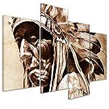 Bilderdepot24 Kunstdruck - Indianer im Vintage Style - Bild auf Leinwand - 120x80 cm 4 teilig - Leinwandbilder - Bilder als Leinwanddruck - Wandbild