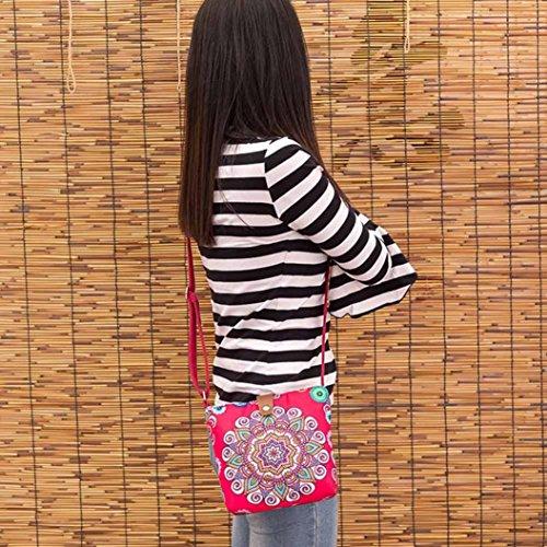 Longra Donna Sacchetto di spalla mobile singolo di stampa di stile popolare I