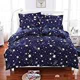Sky Tex Royal Blue Color Light Weighted Cotton Stars Printed 140 TC Cotton Double Bed Sheet With 2 Pillow Covers