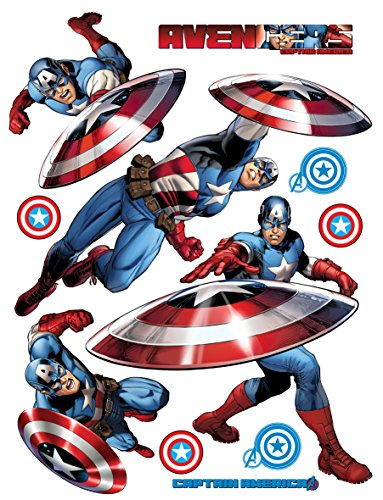 AG Design DK 1796 Marvel Captain America, Wand Sticker, 65x85 cm - 1 teil, Papier, Multicolor, 0,1 x 65 x 85 cm (Captain America Dekorationen)