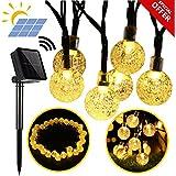 Cadena Solar Primium luces, luces Globo exterior impermeable, 20ft 30 LED Bola de cristal Hada Iluminación para árboles de Navidad, jardín, patio, bodas, fiestas y decoraciones navideñas, blanco cálido con