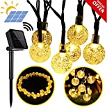 Primium Solar String Lights, Waterproof outdoor Globe Lights, 20ft 30 LED Fairy Crystal Ball Lighting for Christmas Trees, Garden, Patio, Wedding, Party and Holiday Decorations, Warm white - FabQuality - amazon.co.uk
